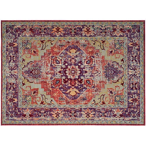 Whistlewood Rug, Purple/Coral