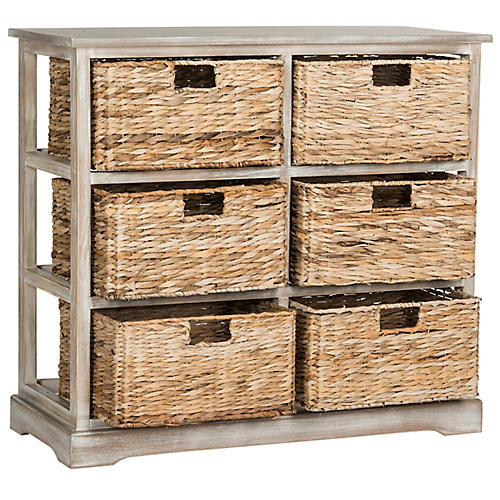 Kera 6-Basket Storage Unit, Antiqued White