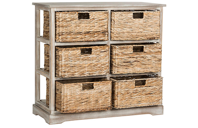Garten Basket Cabinet - Antiqued White
