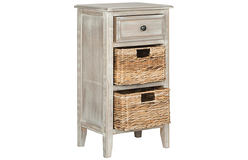 Everly Nightstand, Antiqued White