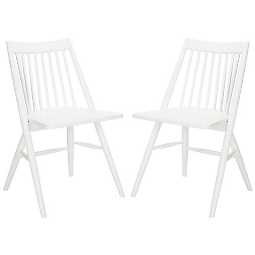 S/2 Bledsoe Side Chairs, White