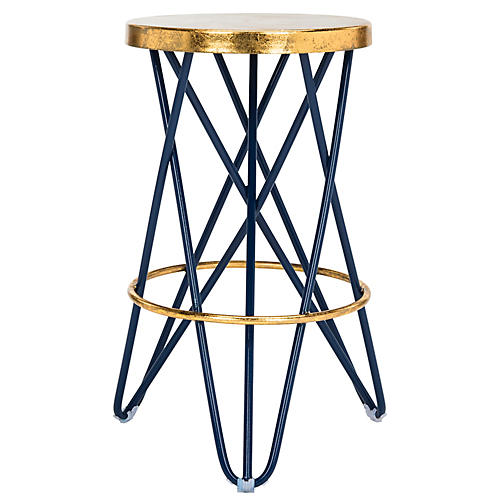 Devin Counter Stool, Navy/Gold