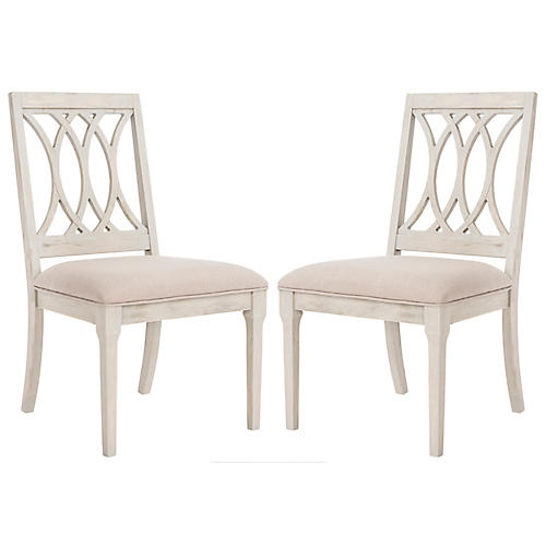 S/2 Streit Side Chairs, Taupe Velvet