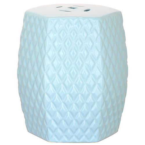 Lourdes Mini Garden Stool, Blue