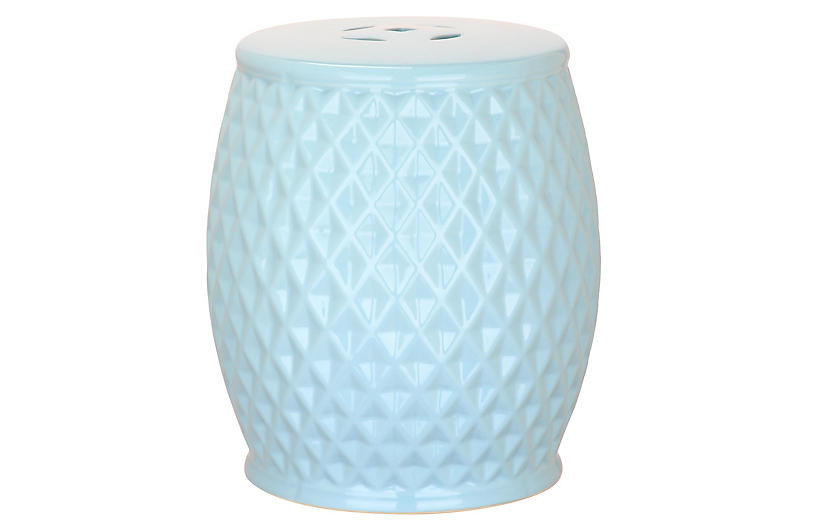 Hexagonal Butterfly Garden Stool Blue Poolside Style