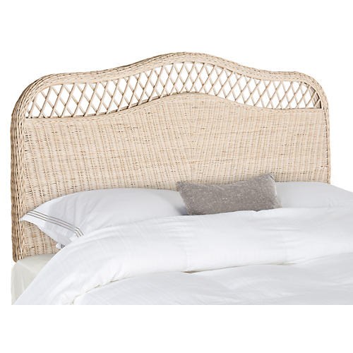Astra Rattan Headboard, Whitewash