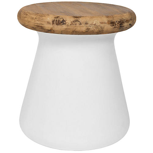 Oshie Outdoor Side Table, Ivory
