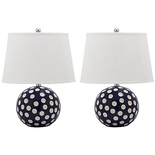 S/2 Bankos Table Lamps, Navy/White