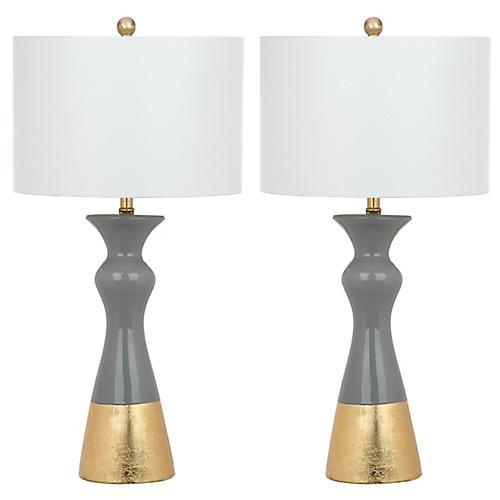 S/2 Callan Table Lamps, Gray/White