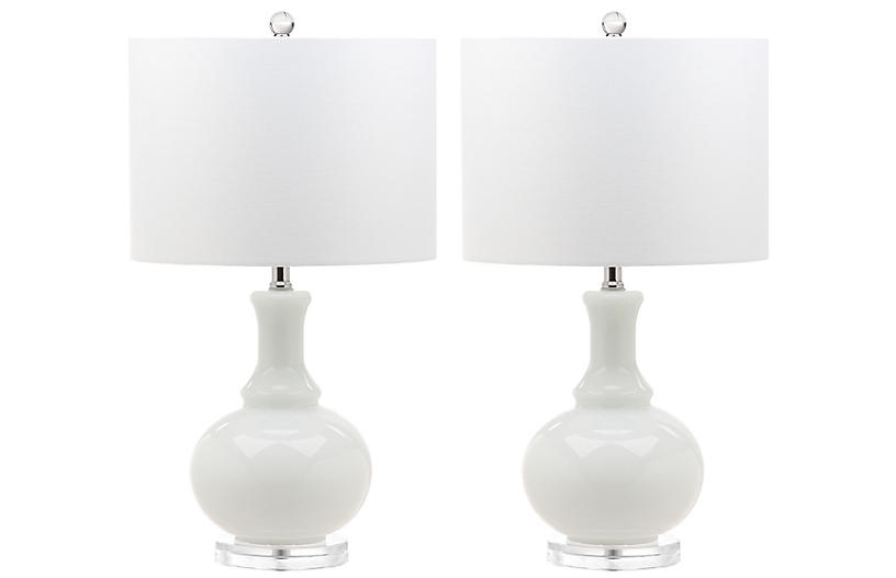 S/2 Myron Table Lamps, White