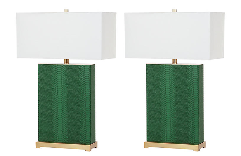 S/2 Caceda Table Lamps, Green