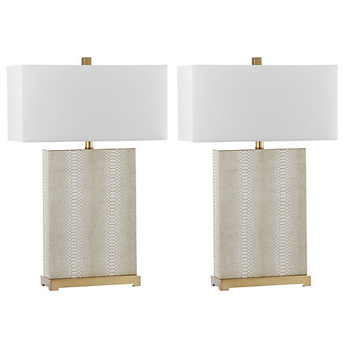 S/2 Caceda Table Lamps, Beige