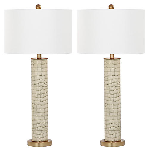 S/2 Carfora Table Lamps, Cream