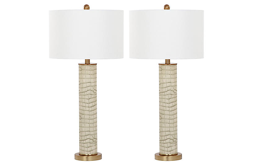 S/2 Cara Table Lamps, Cream