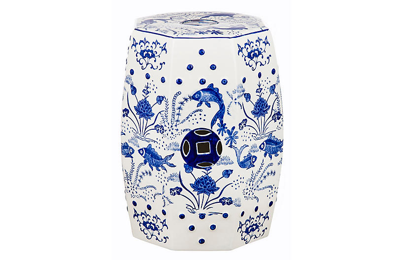 Cloud Chinoiserie Garden Stool, Blue
