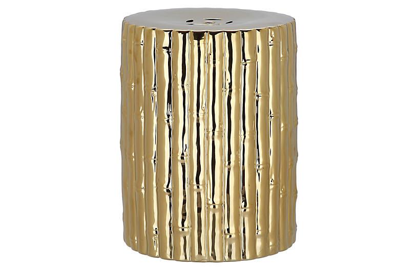 Bamboo Garden Stool, Gold