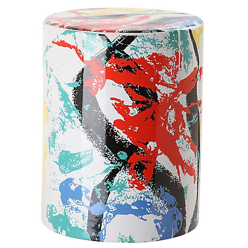 Alair Garden Stool, Red/Multi