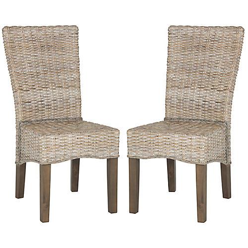 S/2 Ozias Side Chairs, White