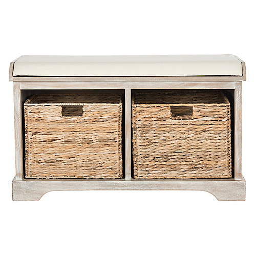Candela Storage Bench, Whitewash