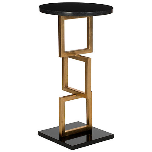Cassidy Side Table, Gold/Black