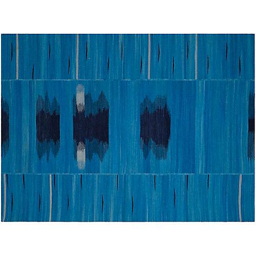 Ertel Flat-Weave Rug, Blue/Black