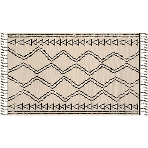 Mulvey Hand-Knotted Rug, Ivory/Black