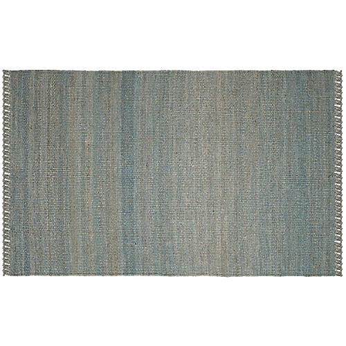 Marek Jute Rug, Blue/Green