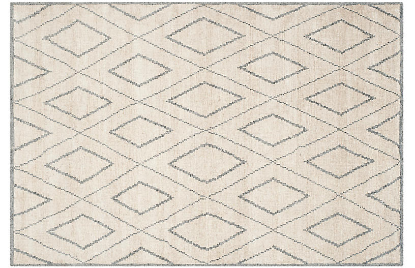 Covern Hand-Knotted Rug, Beige/Gray