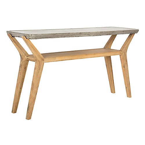 Schultz Console, Natural/Gray