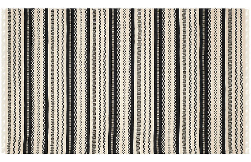 Huron Hand-Knotted Rug, Ivory/Black