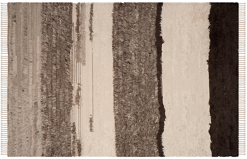 Lina Hand-Knotted Rug, Ivory/Gray