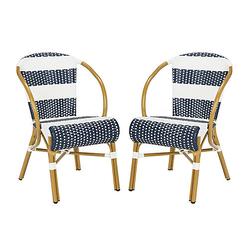 S/2 Aiyana Stacking Armchairs, Navy/White