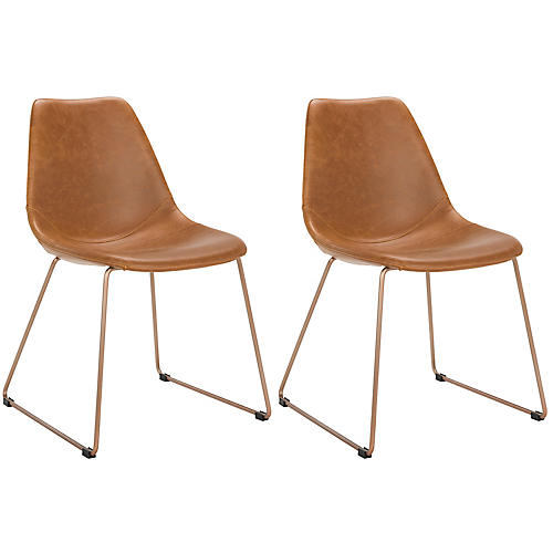 S/2 Dorion Side Chairs, Saddle