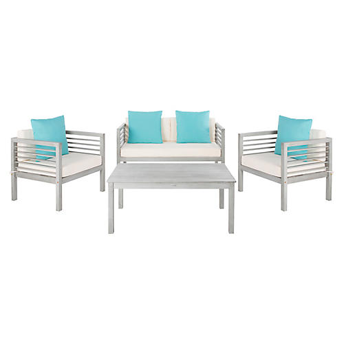 Perth 4-Pc Outdoor Lounge Set, Turquoise/White