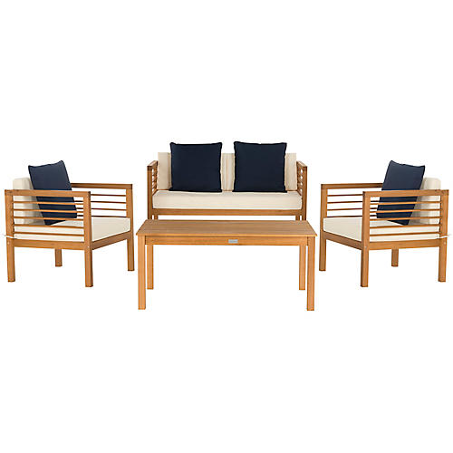 Perth 4-Pc Outdoor Lounge Set, Navy/White