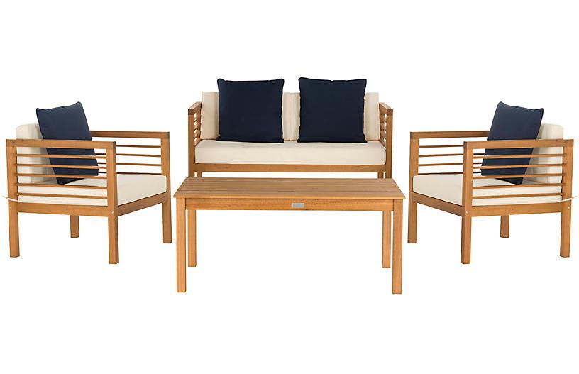 Perth 4-Pc Outdoor Lounge Set, Navy/White