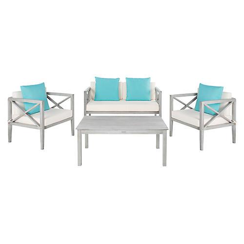 Davenport 4-Pc Outdoor Lounge Set, Turquoise/White