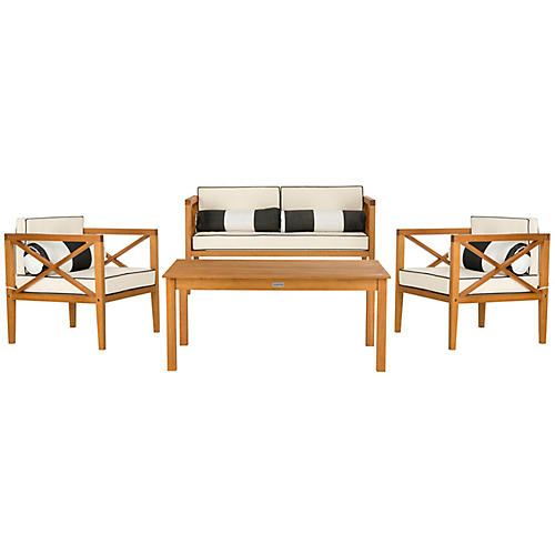 Nunzio Lounge Set, Black/White