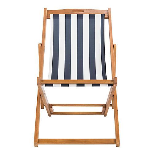 Loren Deck Chair, Navy/White