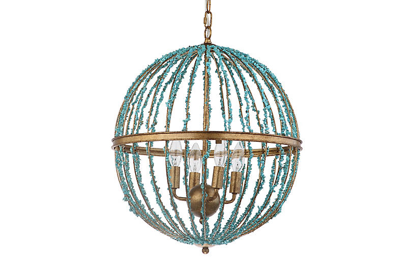 Foyer Chandelier, Blue/Gold