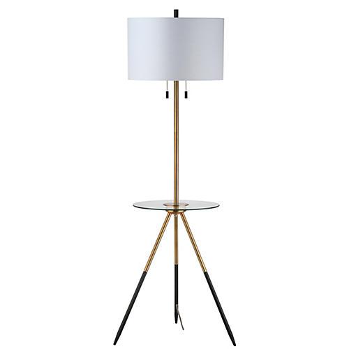 Ephron Side Table Floor Lamp, Gold/Clear