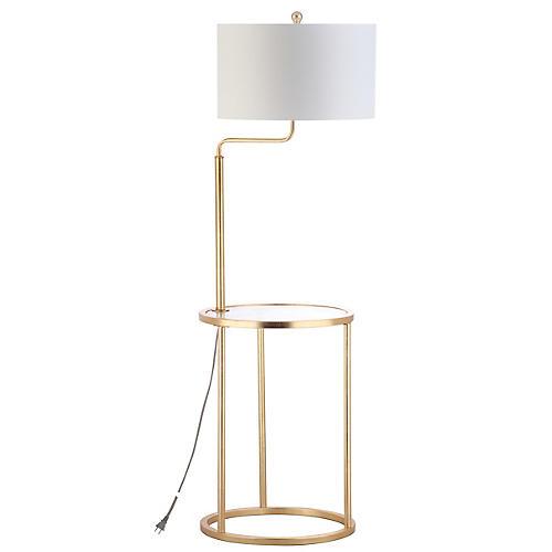Elsie Side Table Floor Lamp, Gold Leaf