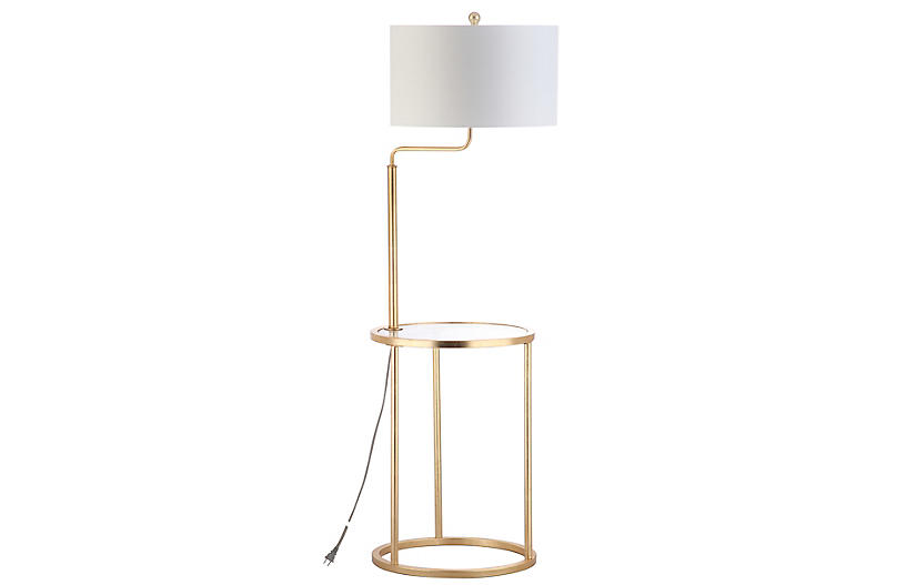 Elsie Side Table Floor Lamp, Gold Leaf