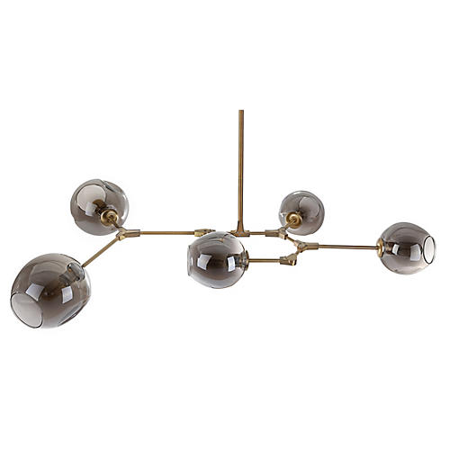 Tanner Chandelier, Brass/Smoke