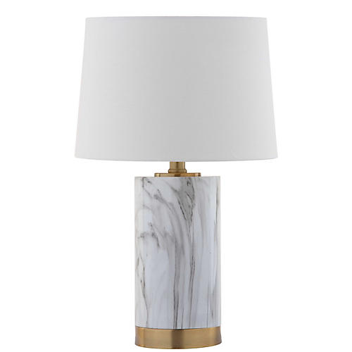 Bereto Marble Table Lamp, White/Brass