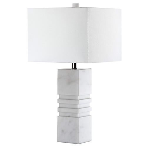 Mallari Marble Table Lamp, White/Nickel