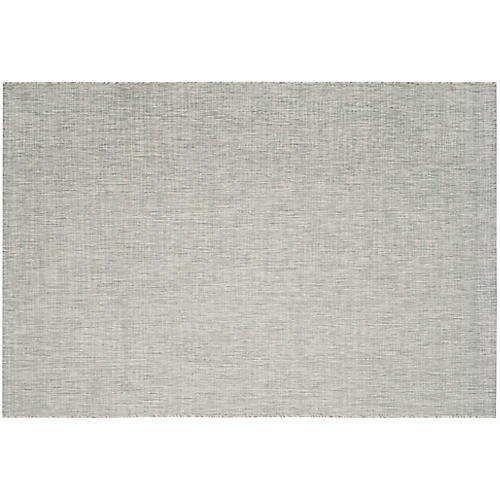 Linden Outdoor Rug, Gray/Turquoise