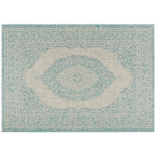 Dorann Outdoor Rug, Light Gray/Aqua