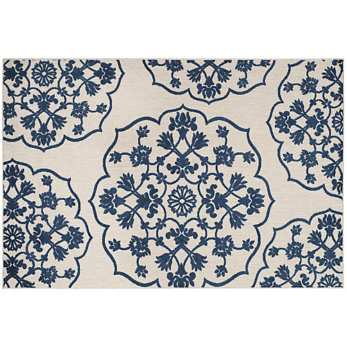 Chandler Outdoor Rug, Light Gray/Royal Blue