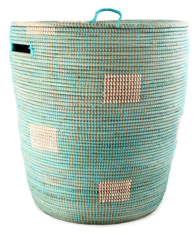 Lidded Sahara Basket, Aqua